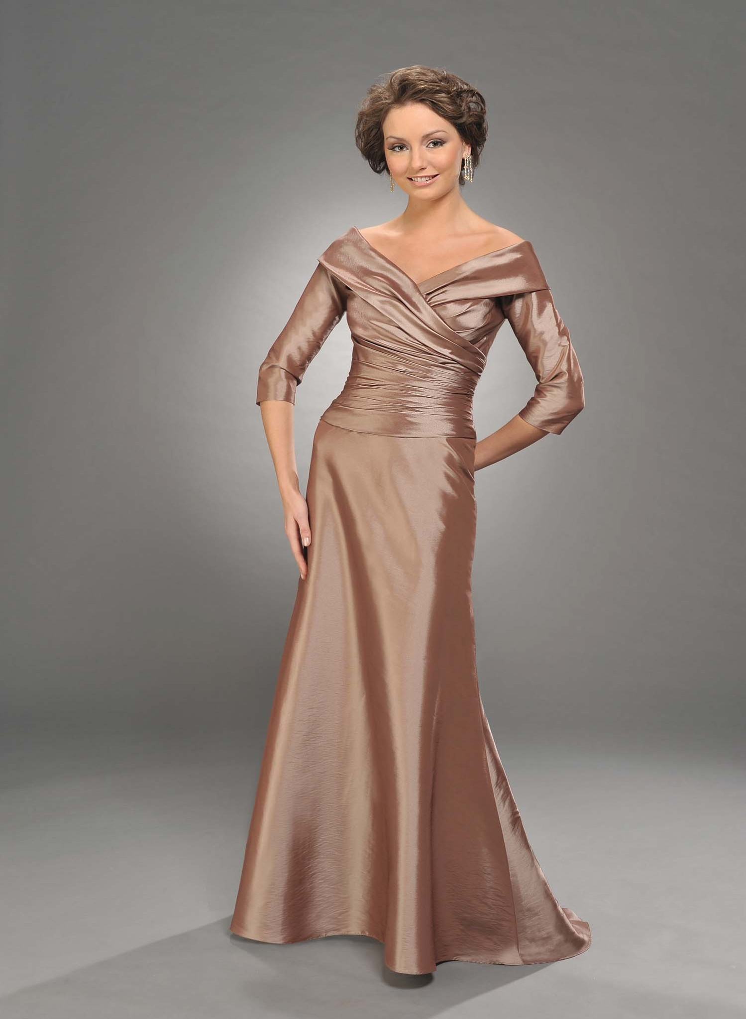 Champagne A Line V Neck Half Sleeves Full Length Mother Of Bride Dresses With Drapes