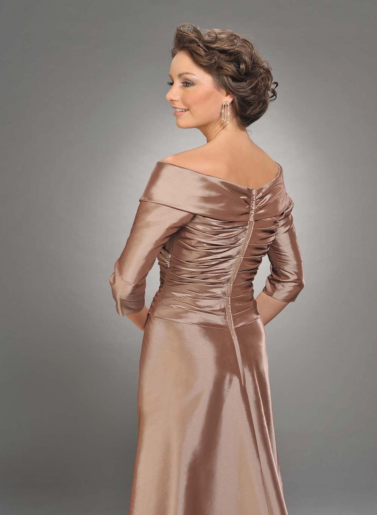 547d1e833 Champagne a Line V Neck Half Sleeves Full Length Mother of Bride Dresses  With Drapes