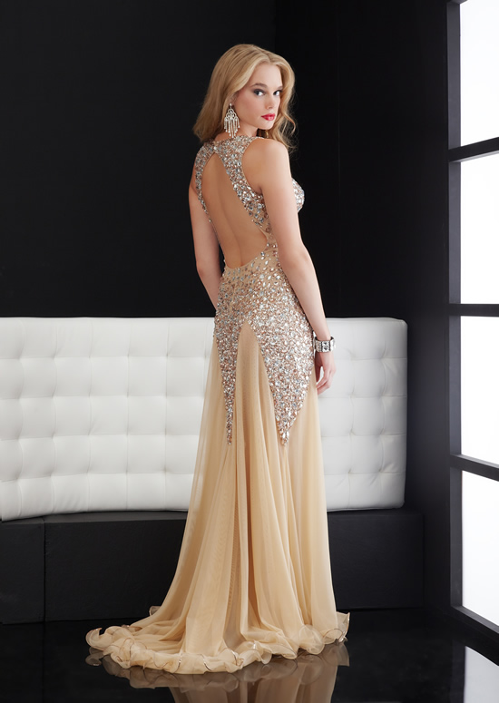 8bc33a9b44 Champagne Column Halter and Sweetheart Open Back Sweep Train Full Length Evening  Dresses With Beadings and Sequins