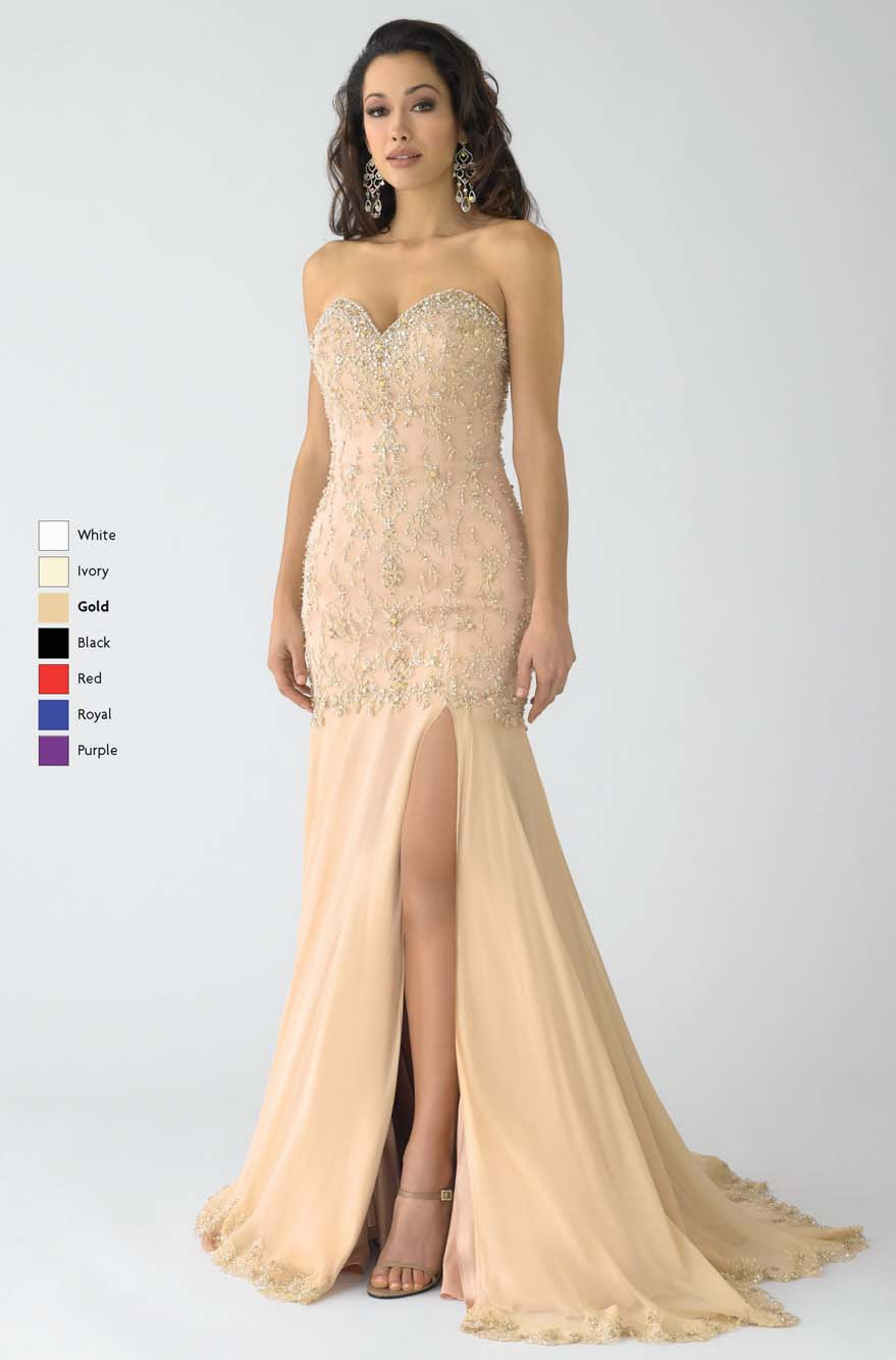 Gold Mermaid Strapless Sweetheart Low Back Sweep Train Floor Length Chiffon Prom Dresses With Beading And High Slit