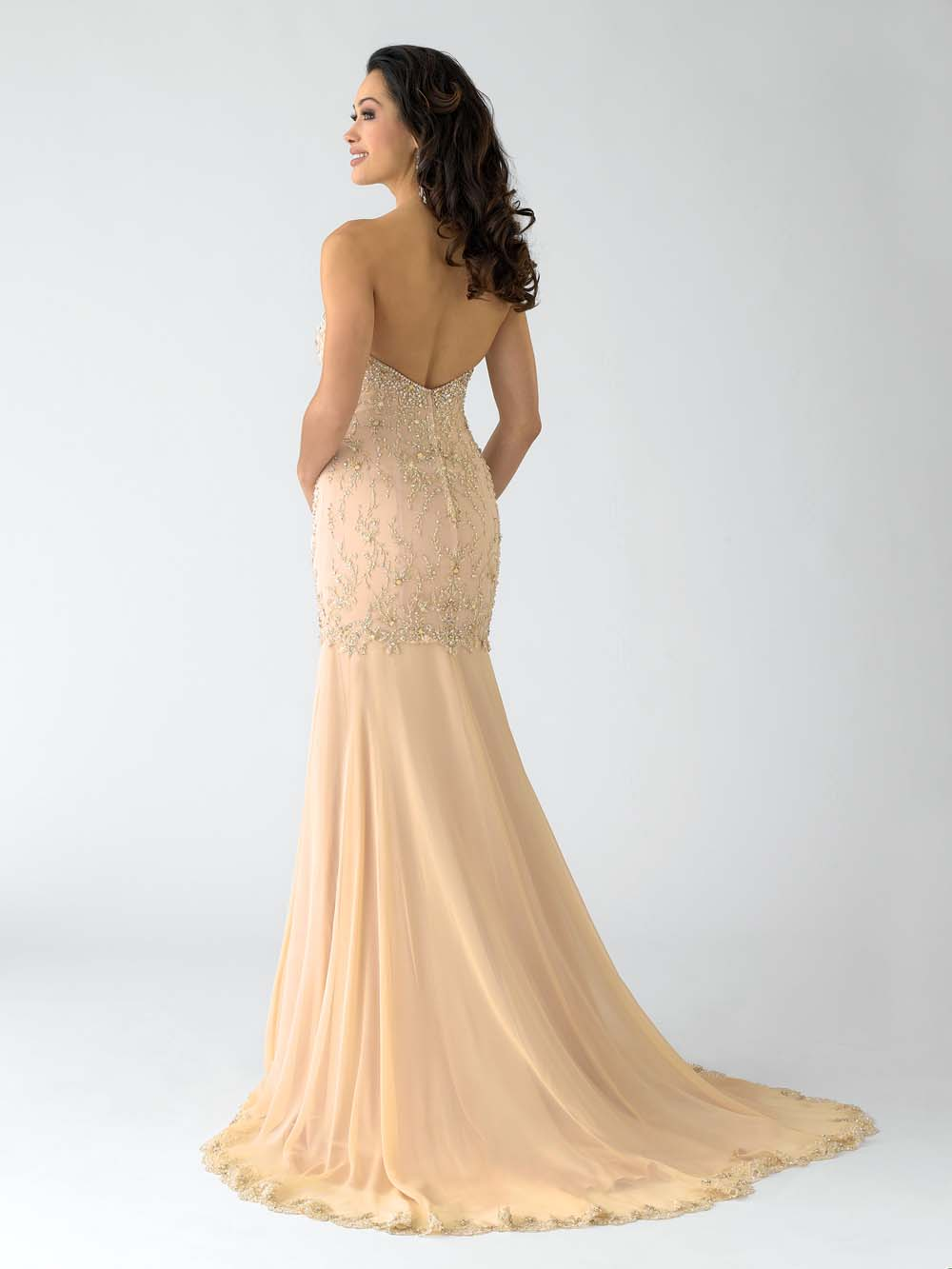 Gold Mermaid Strapless Sweetheart Low Back Sweep Train ...