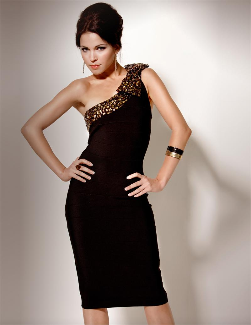 Chocolate Column One Shoulder Knee Length Beaded Satin Cocktail Dresses
