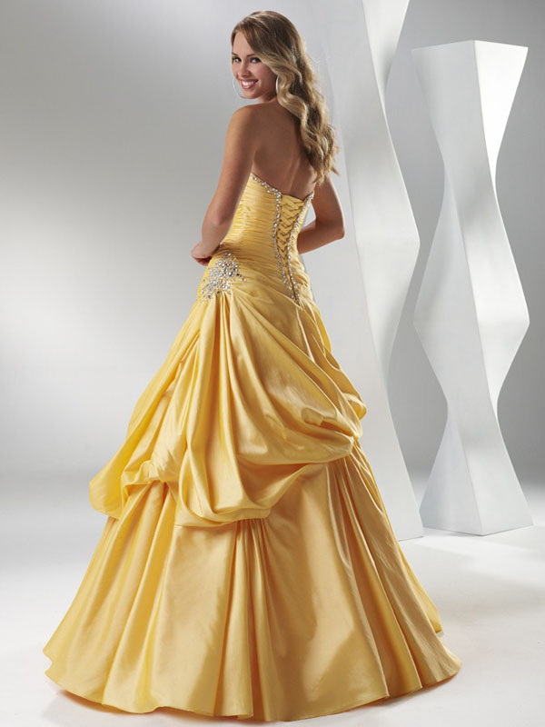 77a8837c5a Yellow A Line Strapless Sweetheart Lace Up Full Length Prom Dresses With  Beading And Ruffles