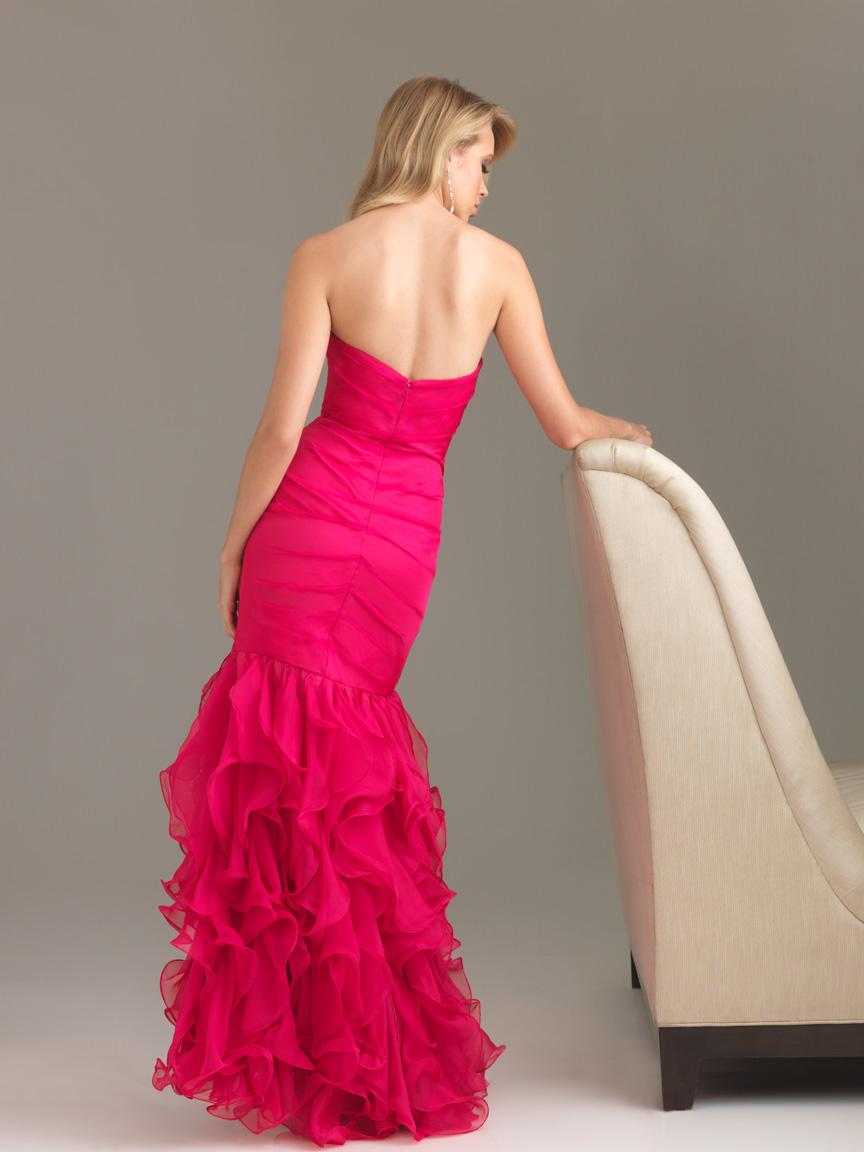 Fuchsia Mermaid Strapless Sweetheart Zipper Floor Length ...