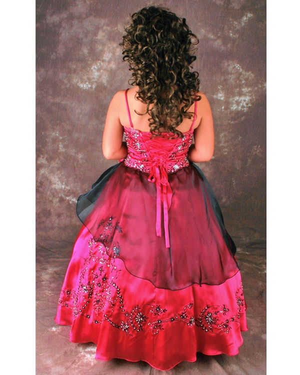 f2f547e570a Magenta Ball Gown Spaghetti Straps Lace up Floor Length Flower Girl Dresses  With Black Embroidery and Tulle