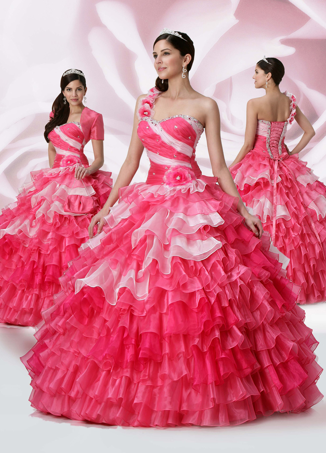 f8c4937c5f1 Pink Ball Gown Sweetheart And Floral One Shoulder Lace Up Full Length  Quinceanera Dresses With Beading And Ruffles