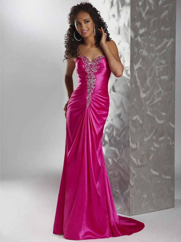 Fuchsia Strapless Sweetheart Open Back Sweep Train Full Length Mermaid Evening Dresses With Beading And Drapes