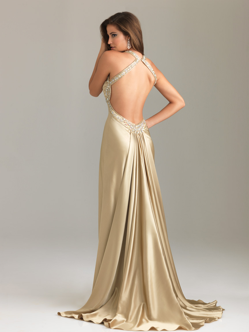 76c97afb2a Gold Column Halter and Sweetheart Backless Sweep Train Beading Floor Length  Satin Evening Dresses