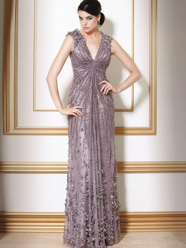 d52f34e41c Inki Pink Column Deep V Neck Open Back Sweep Train Full Length Celebrity  Dresses With Seqquins and Appliques