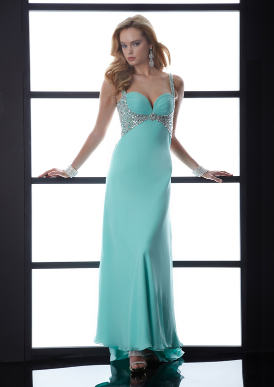 Aqua Empire Sweetheart And Strap Butterfly Back Sweep Train Floor Length Chiffon Evening Dresses With Sequins