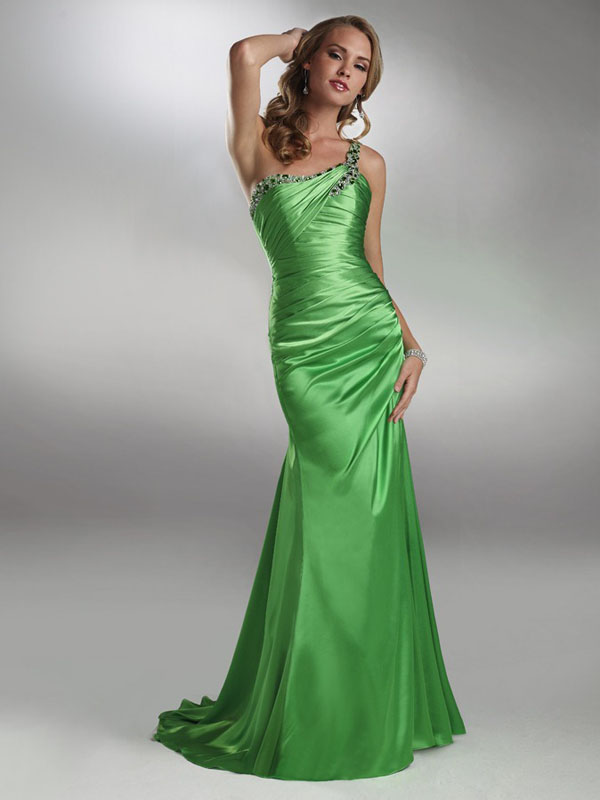 Green Mermaid One Shoulder Low Back Sweep Train Floor Length Beading Drapes Evening Dresses
