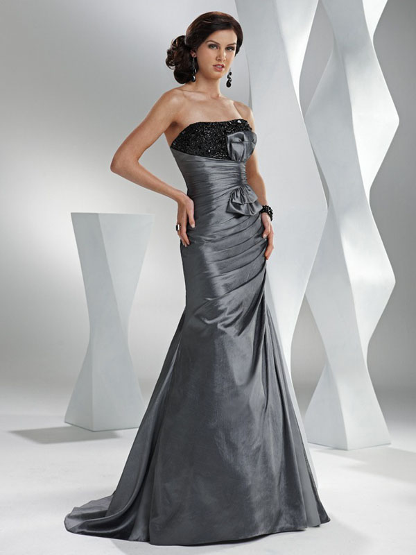 Mermaid Strapless Bandage Sweep Train Dark Grey Full Length Prom Dresses With Jewel And Drapes