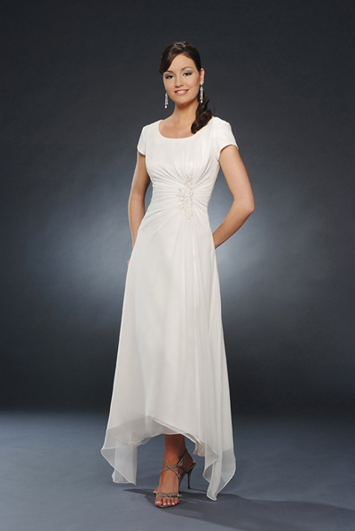 13b28ac9b4 Ivory Scoop and Short Sleeve Zipper Ankle Length a Line Mother of Bride  Dresses With Appliques and Drapes