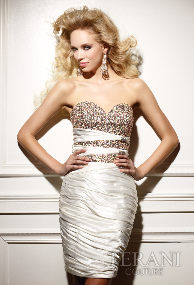 438f763c Ivory Column Strapless Sweetheart Short Mini Celebrity Dresses With Sequins  and Ruches