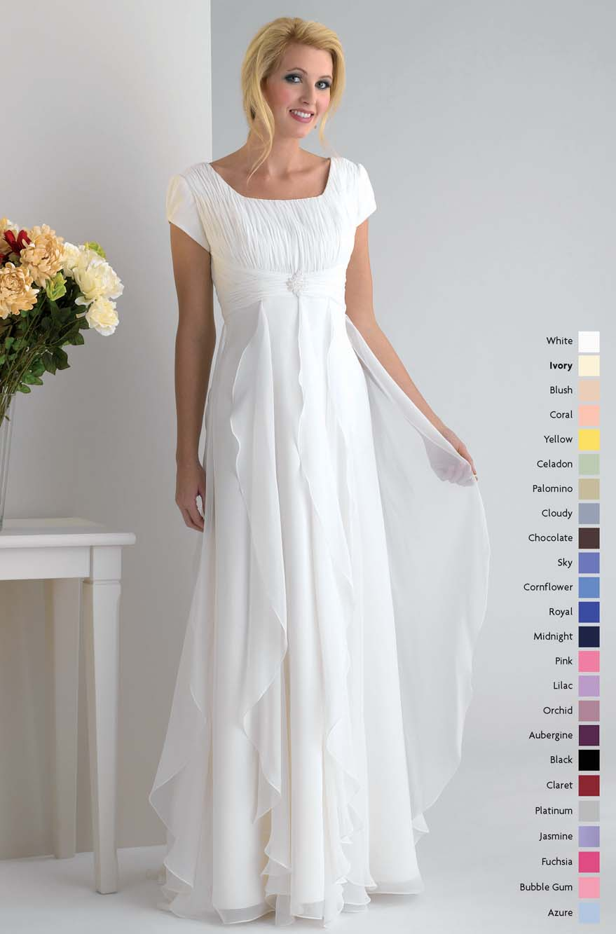 White Square Neckline Short Sleeves Zipper Full Length Empire Mother Of Bride Dresses With Ruffles