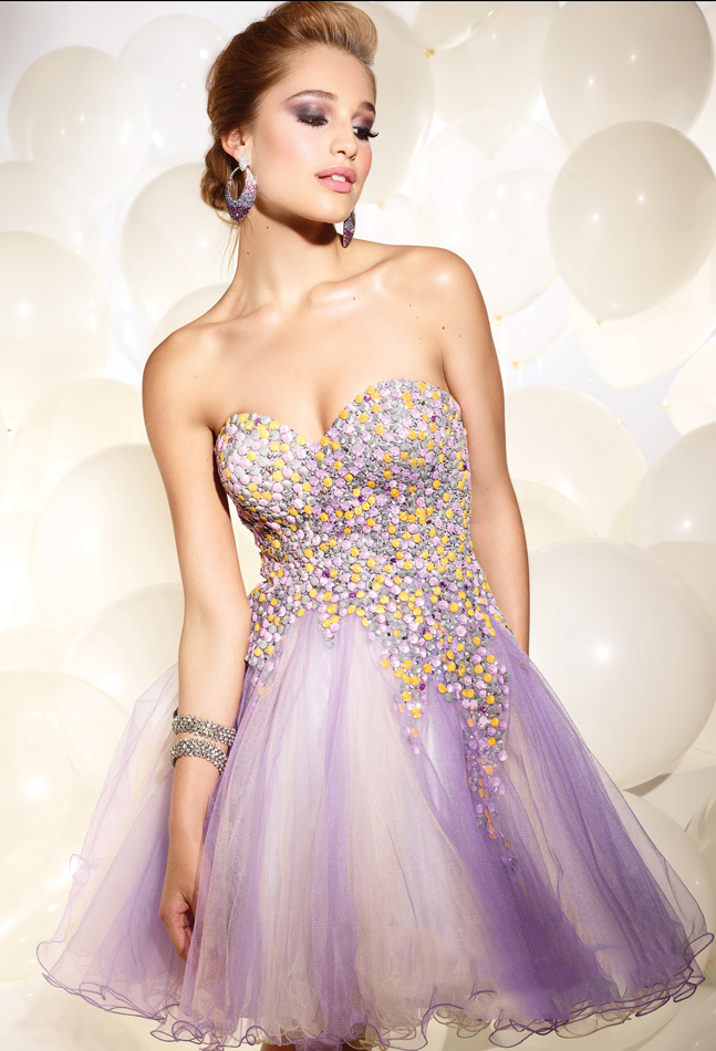 c37b7a6257c Lavender Empire Sweetheart Strapless Zipper Tulle Short Mini Cocktail  Dresses With Beading and Ruffles