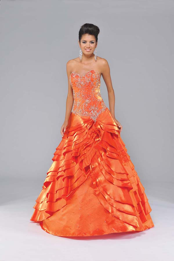 859c0d123f Orange A-Line Strapless Sweetheart Lace up Sweep Train Full Length Satin  Prom Dresses With Beading Embroidery and Ruffles