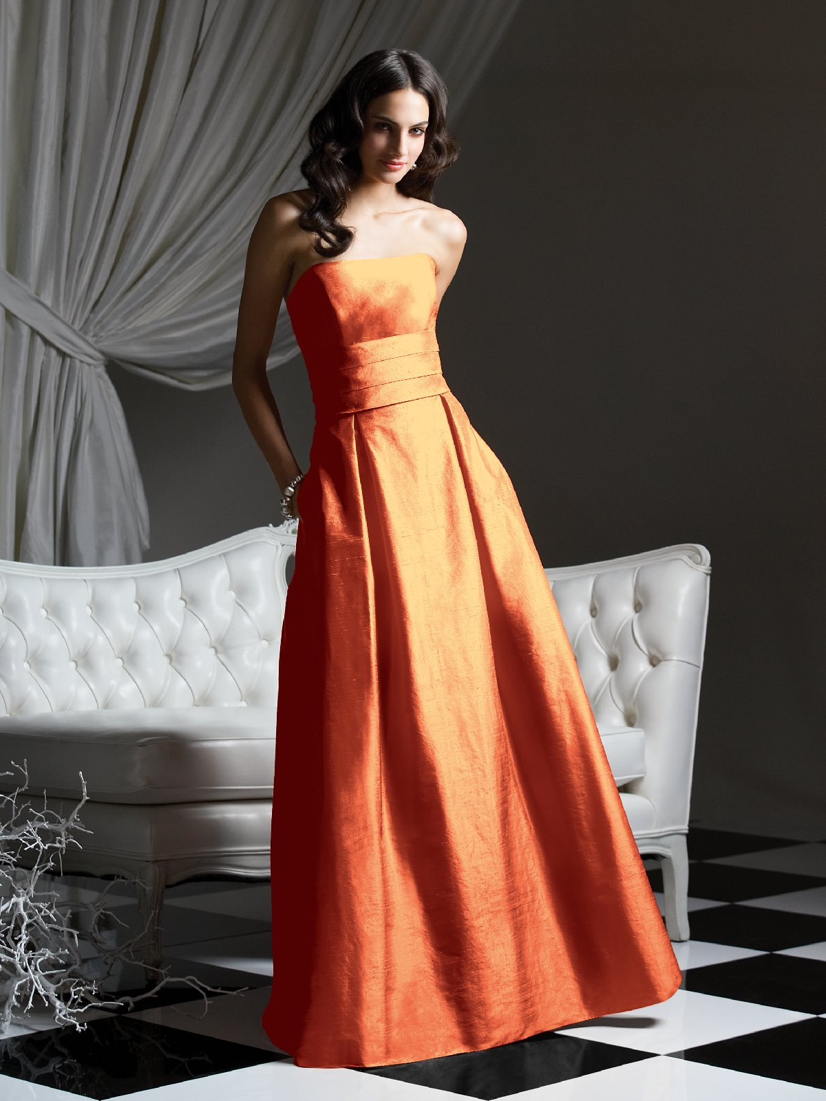 Orange A Line Strapless Zipper Floor Length Prom Dresses With Draped Waist