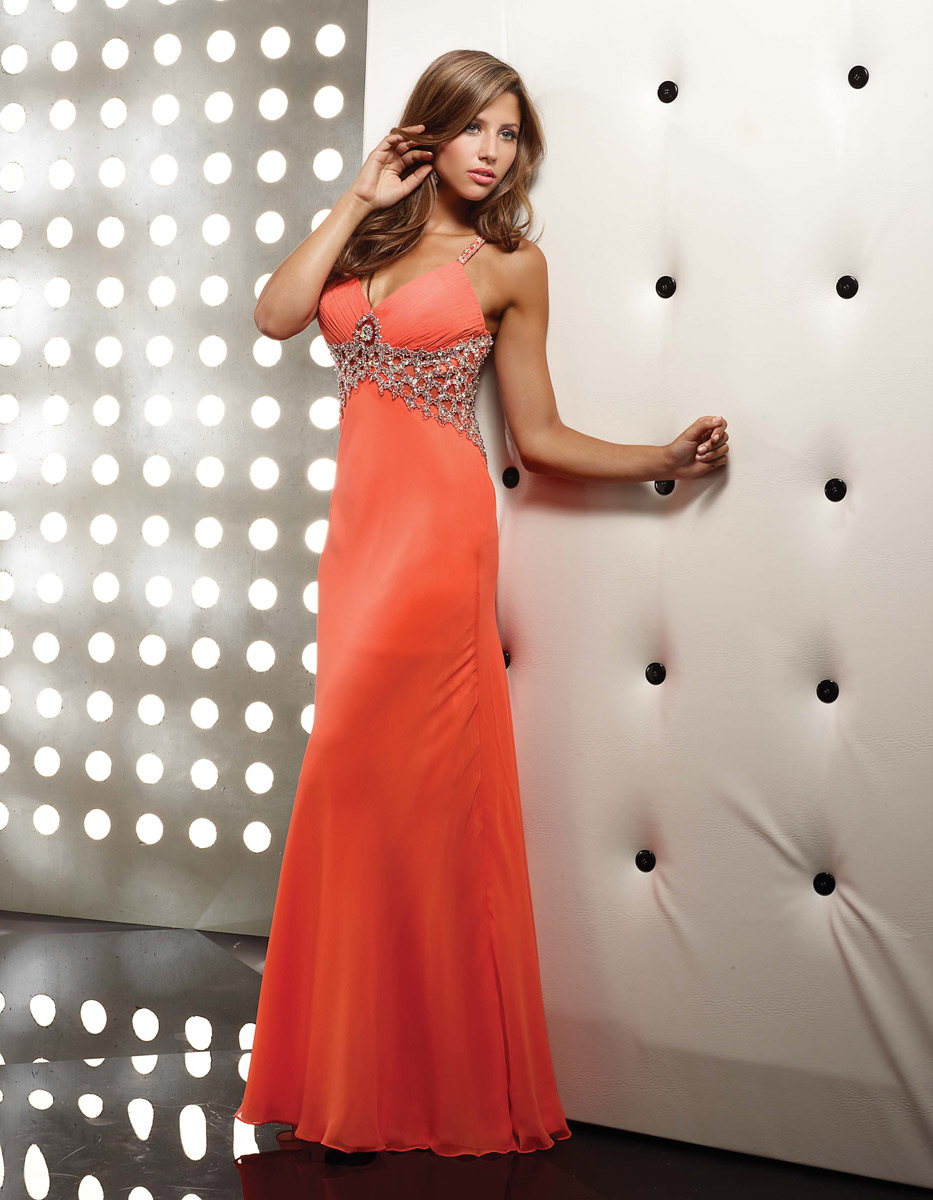 23ee4d8a714 Orange A Line V Neck And Spagetti Straps Open Back Full Length Evening  Dresses With Beading