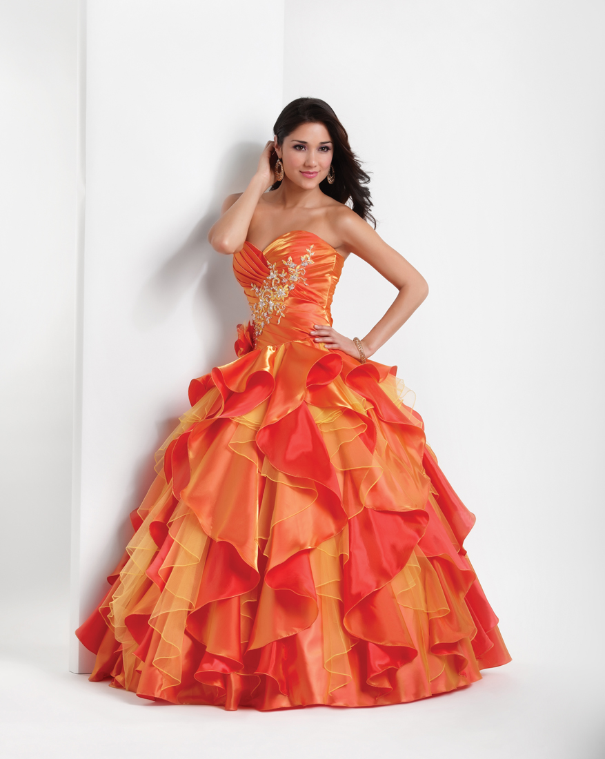 utterly stylish 2018 shoes size 7 Orange and Red Ball Gown Sweetheart Full Length Quinceanera ...