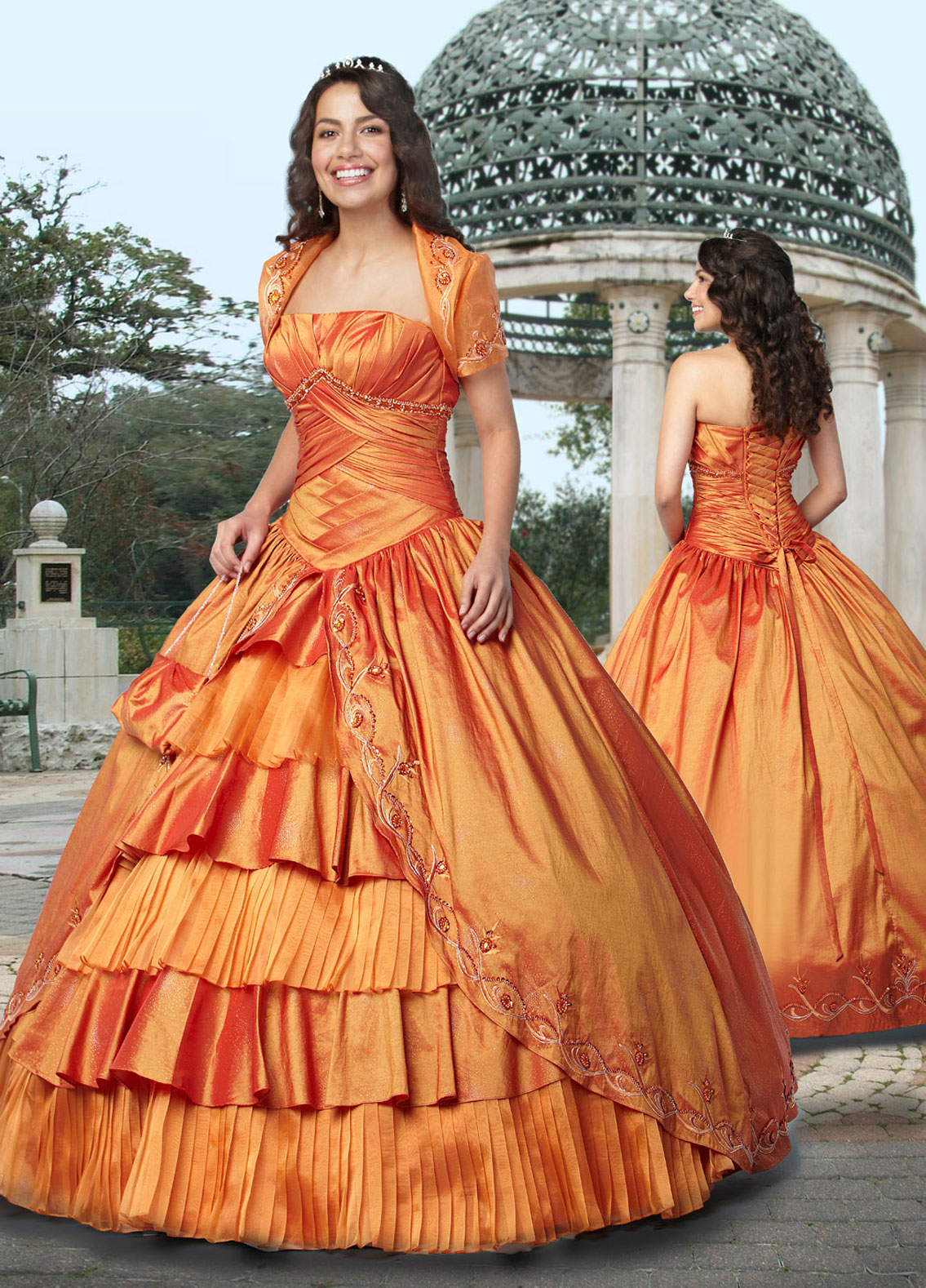 Luxurious Orange Ball Gown Strapless Lace up Floor Length Pleated ...