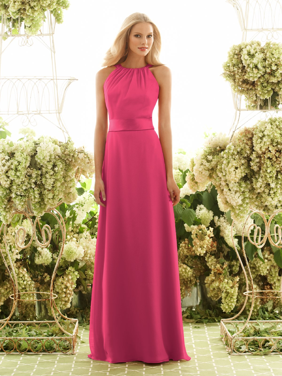 Pink A Line Bateau Floor Length Chiffon Prom Dresses With Satin Sash