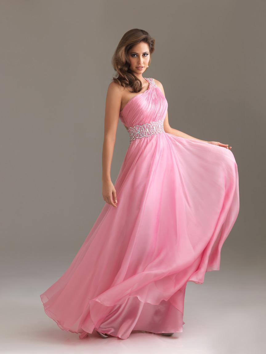4e62bd30ac Pink a Line One Shoulder Backless Pleat Floor Length Celebrity Dresses With  Sequins