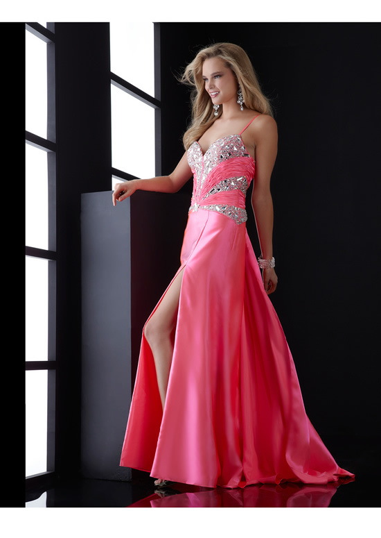 Pink A Line Spaghetti Straps And Sweetheart Zipper Sweep Train Full Length Evening Dresses With Sequins