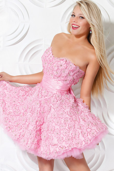 Pink A Line Strapless Sweetheart Zipper Short Mini Cocktail Dresses With Flowers