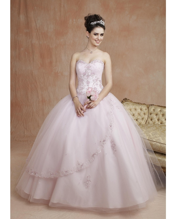 Pink Ball Gown Strapless Sweetheart Lace Up Floor Length