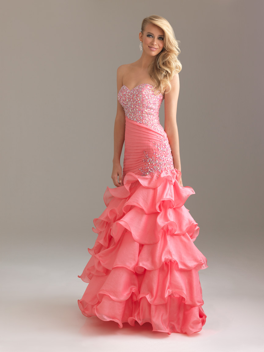 3483815fe47d9d Beading Tiered Ball Gown Organza Prom Dresses 2017