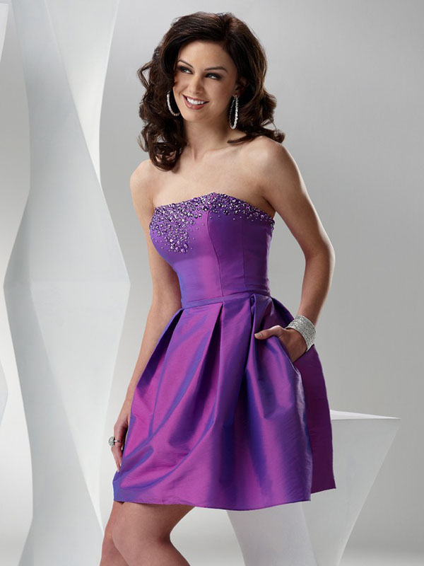 f9309e800ba Purple A Line Strapless Lace Up Short Mini Cocktail Dresses With Beading  And Draped Skirt