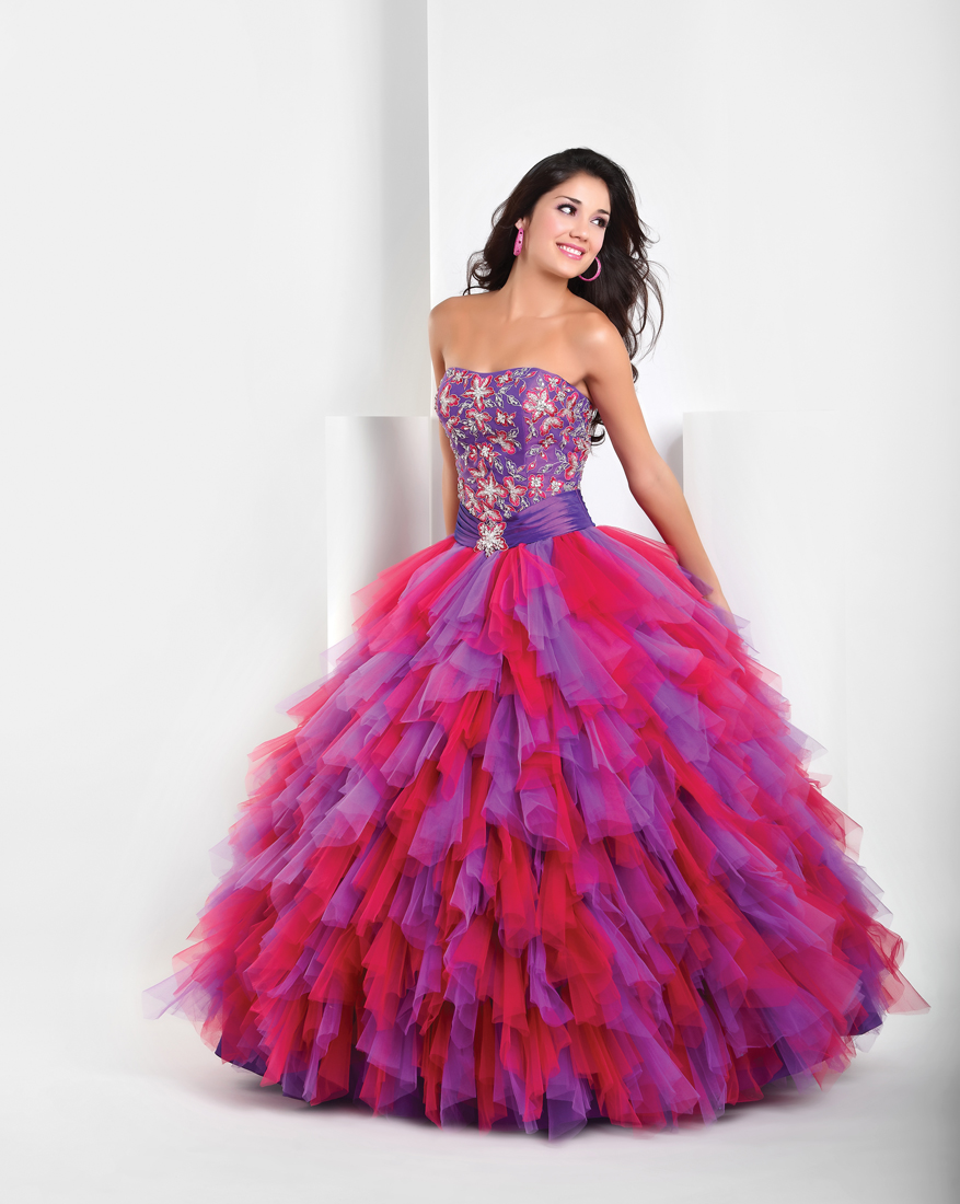 Purple And Red Ball Gown Strapless Full Length Quinceanera Dresses With Beading Ruffles