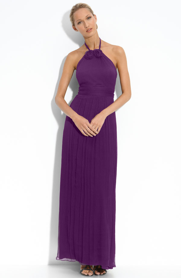 Purple Column Halter Ankle Length Zipper Chiffon Bridesmaid Dresses With Hand Made Flower