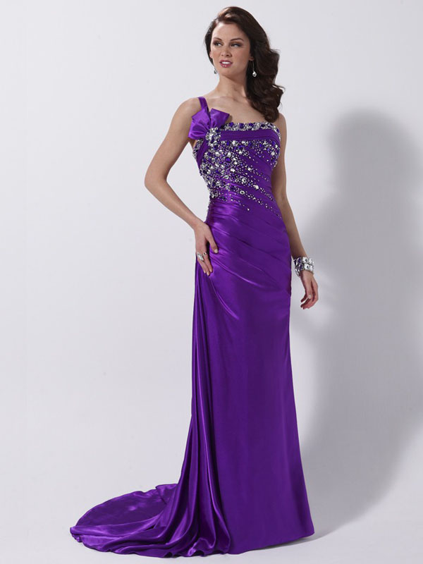 ad1255d148 Purple Column One Shoulder Lace up Sweep Train Full Length Evening Dresses  With Beadings