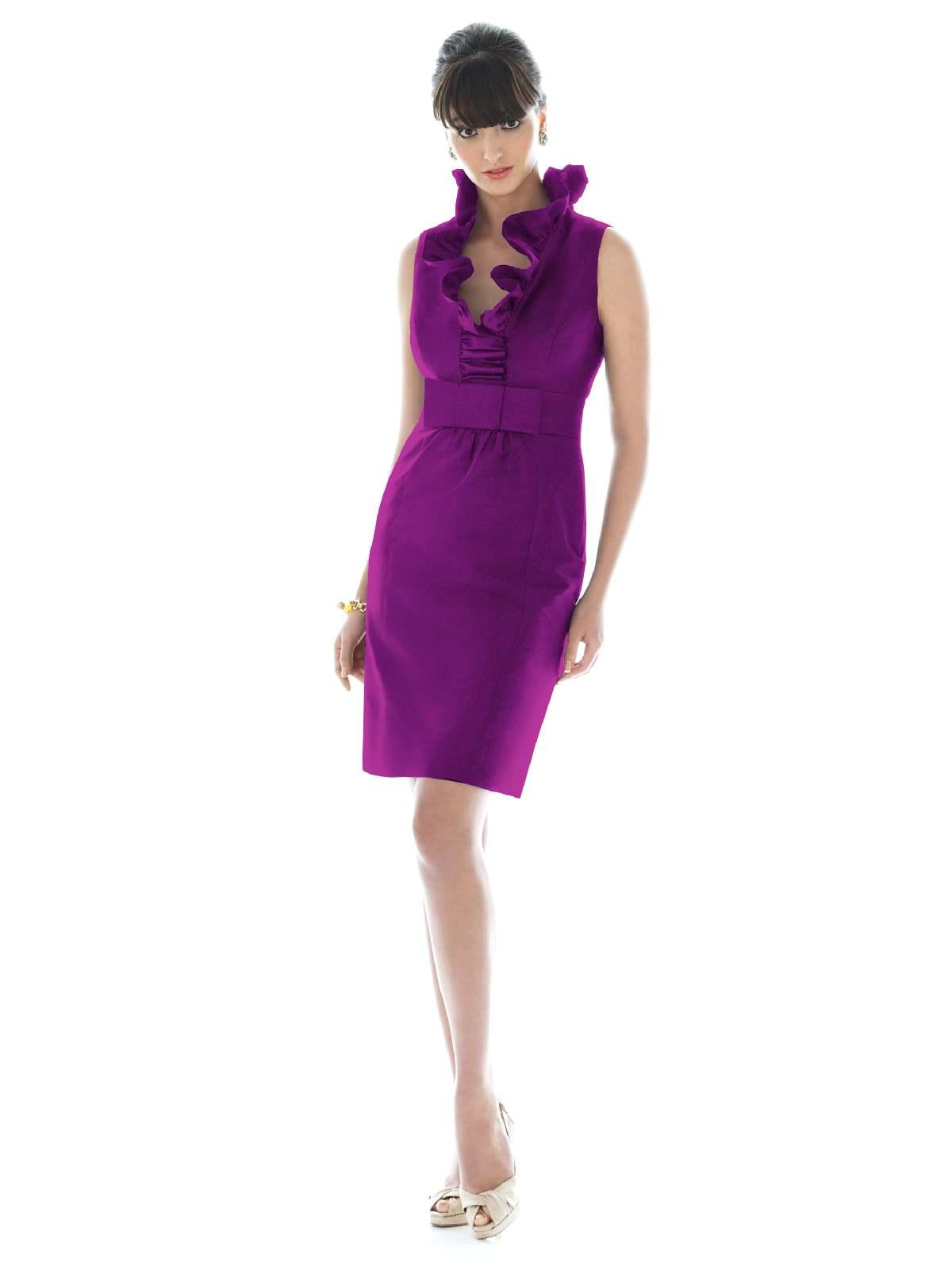 Purple Column Flounced V Neck And Sleeveless Slit And Zipper Knee Length Prom Dresses