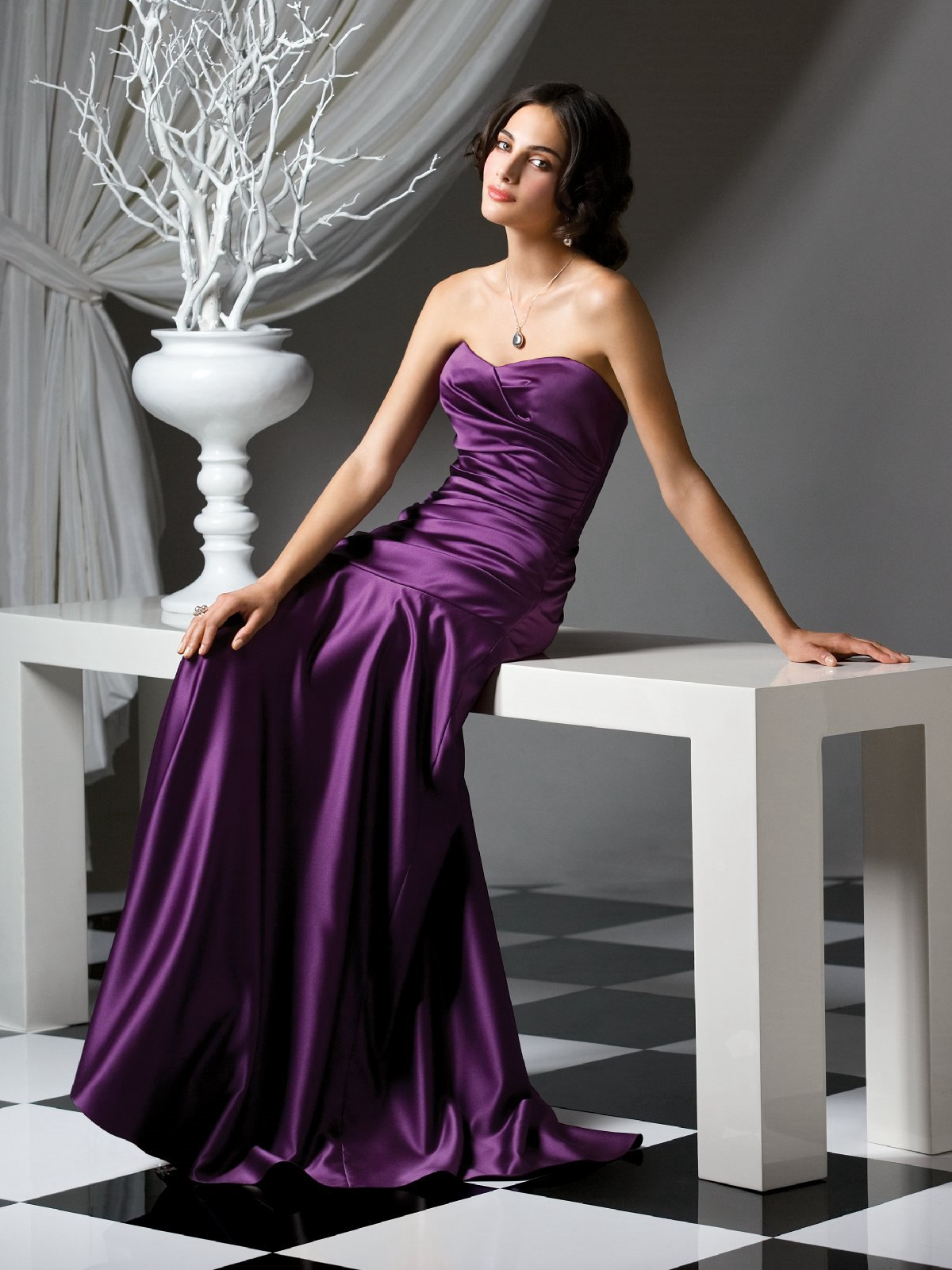 618f26a088dd Purple Mermaid Strapless Sweetheart Zipper Sweep Train Floor Length Ruffled  Satin Prom Dresses