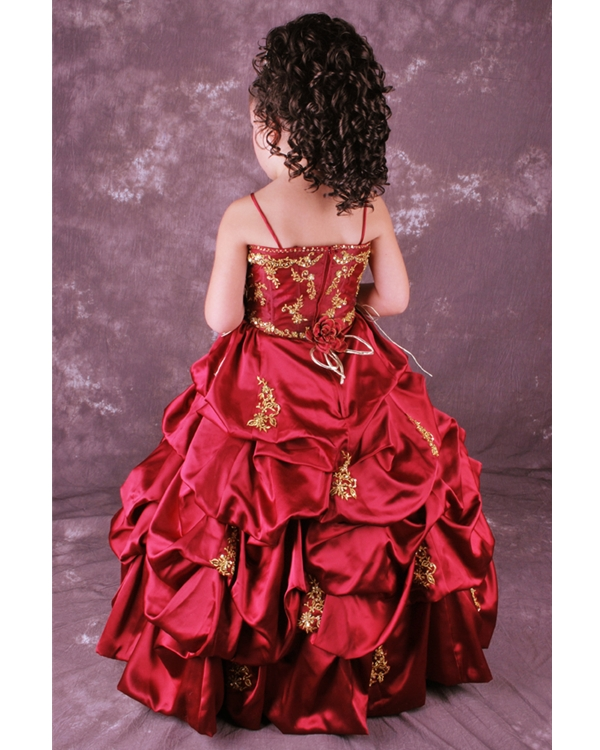 69c6a8cf7bc Burgundy Ball Gown Spaghetti Straps Full Length Flower Girl Dresses With Twist  Drapes and Gold Embroidery