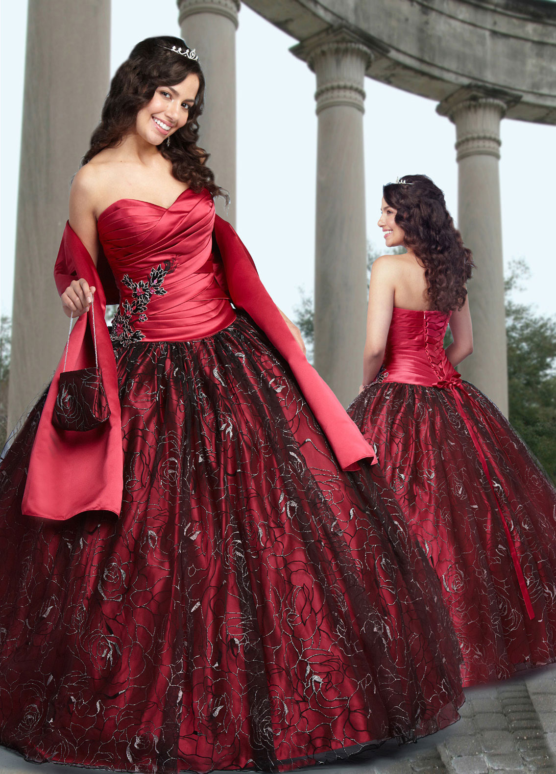 Red Ball Gown Strapless Sweetheart Lace up Full Length Quinceanera ...