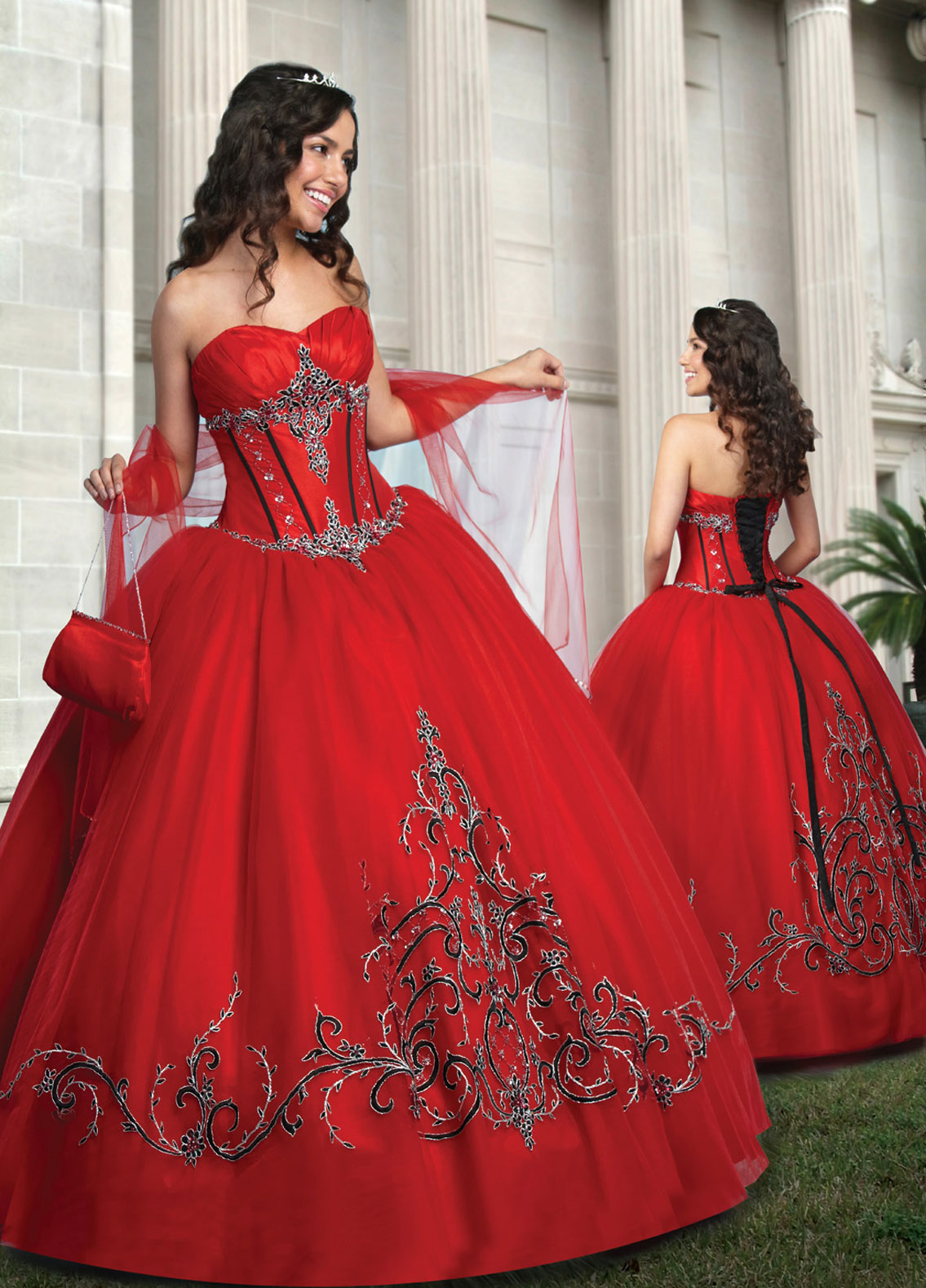 7f04314609a Red Ball Gown Sweetheart and Strapless Lace up Full Length Quinceanera  Dresses With Embroidery