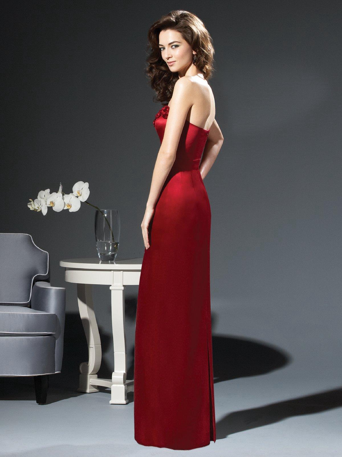 Elite Red Column Strapless Floor Length Satin Prom Dresses