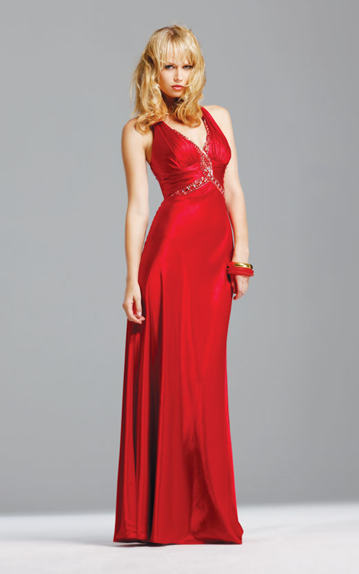 Empire V Neck And Strap Cross Back Floor Length Beading Red Evening Dresses
