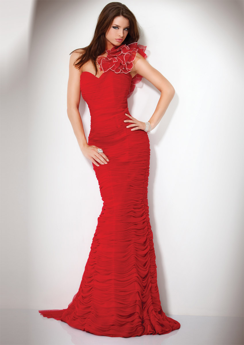Red One Shoulder Sweetheart Zipper Sweep Train Full Length Mermaid Celebrity Dresses With Ruches