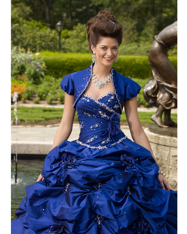 5f356d7ea3c Royal Blue Ball Gown Strapless Sweetheart Lace up Full Length Beaded and  Ruffled Quinceanera Dresses