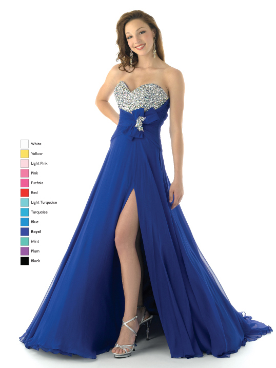 851912abe9a Royal Blue Empire Strapless Sweetheart Low Back High Slit Sweep Train  Beading Floor Length Chiffon Prom Dresses