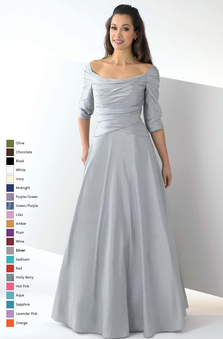 4825ffc69bfb Silver Off the Shoulder and Half Sleeve Floor Length a Line Mother of Bride  Dresses With Drapes