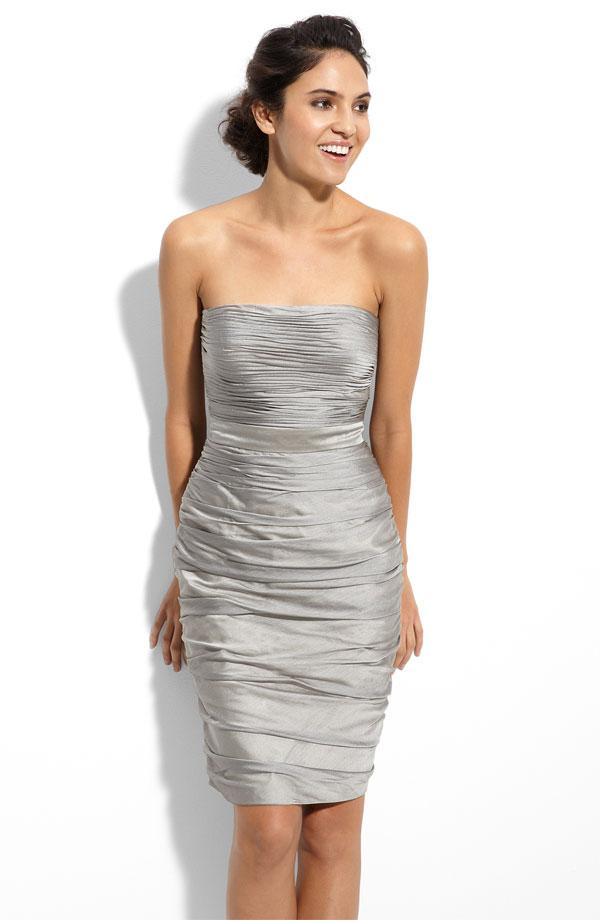Grey Strapless Knee Length Bridesmaid Dress