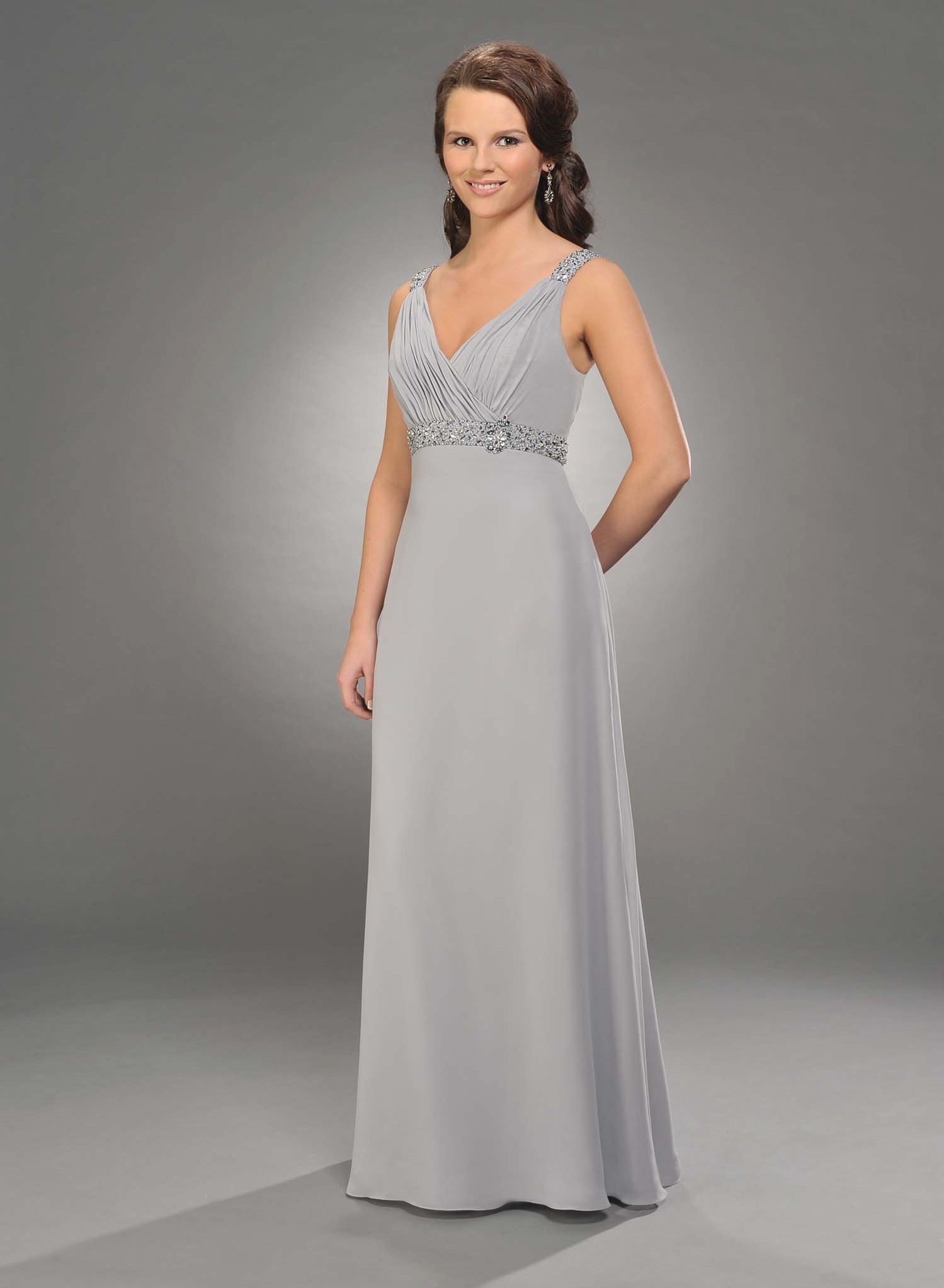 3c9d867ac26 Silver Empire V Neck and Strap Low Back Full Length Chiffon Prom Dresses  With Beading and Drapes