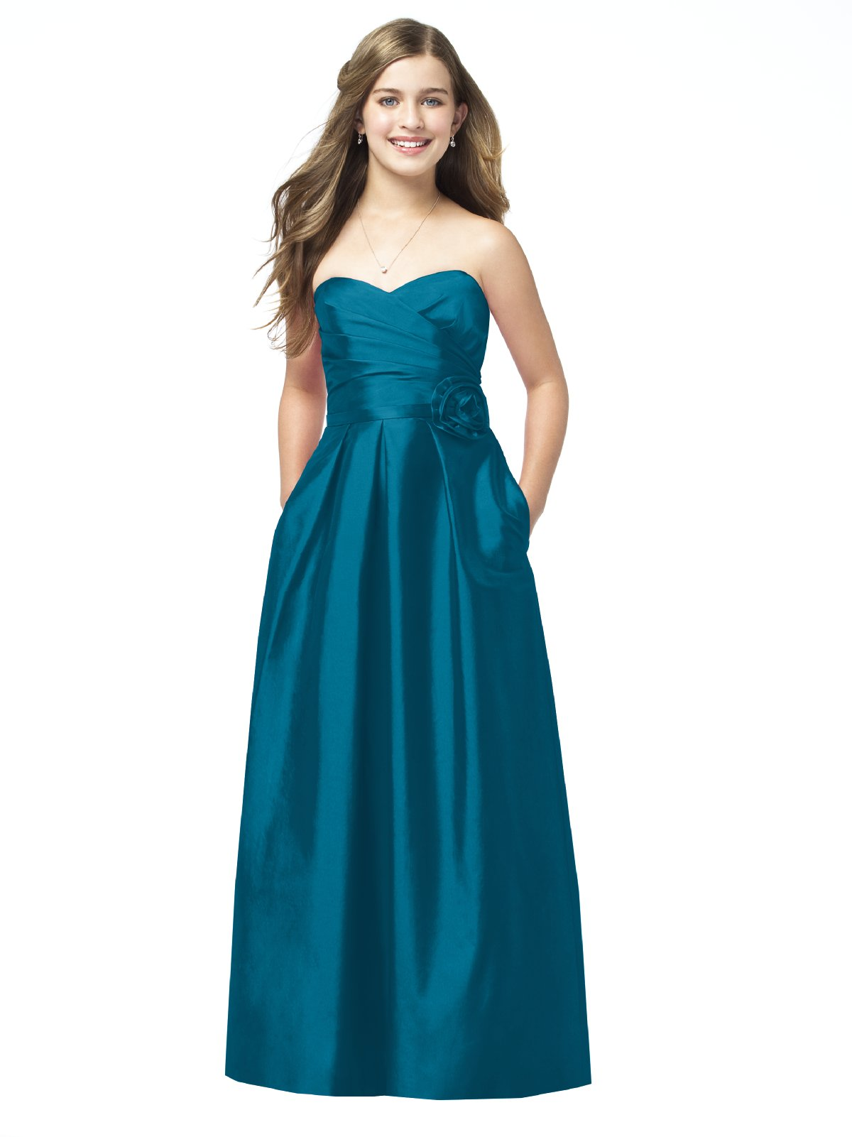 Teal A Line Strapless Sweetheart Zipper Floor Length Satin Prom Dresses With Flowers And Pockets
