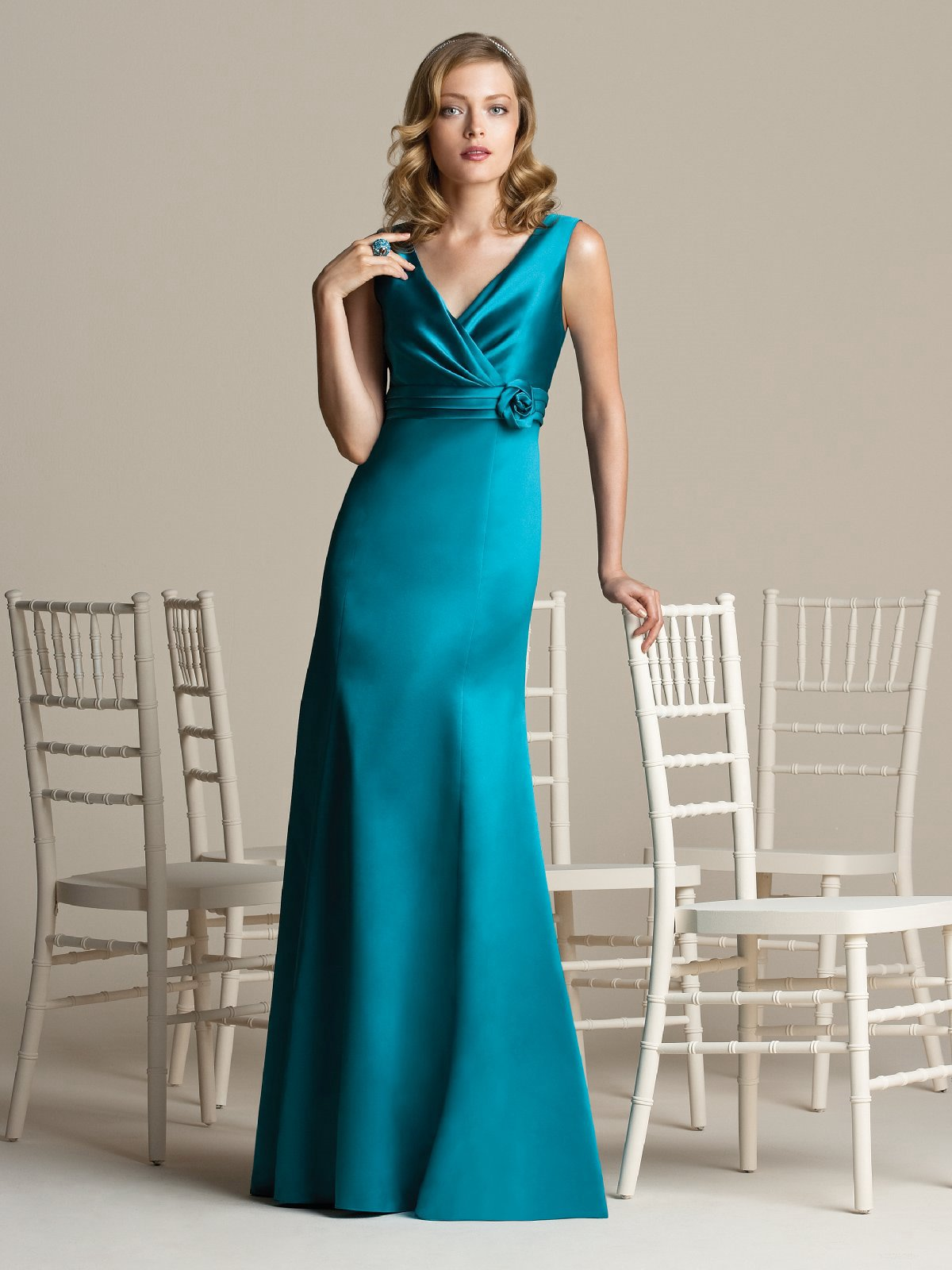 Teal A Line V Neck And Sleeveless Zipper Floor Length Satin Prom Dresses With Belt